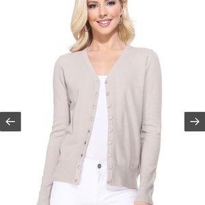 Long Sleeve Grey button down knit Cardigan M .